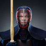 Kendo fighter with shinai — Stock Photo