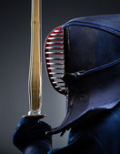 Profile of kendo fighter with bokuto — Stock Photo