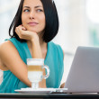 Woman working at the pc — Stock Photo
