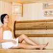 Half-naked woman relaxing in sauna — Stock Photo