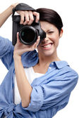 Woman-photographer takes photos — Stock Photo