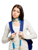 Teenager with blue rucksack — Stock Photo