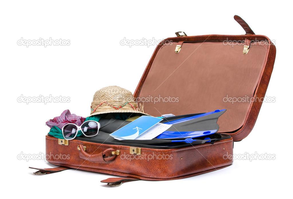 valise ouverte avec des v tements pour le voyage photo 31278125. Black Bedroom Furniture Sets. Home Design Ideas