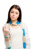 Half-length portrait of teen with obscene gesture — Stock Photo