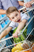 Little boy sits in the cart with watermelon — Stock Photo