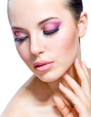 Girl with brilliant pink makeup — Stock Photo