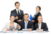 Group of business team debating — Stock Photo