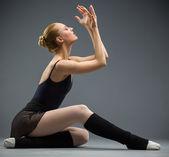 Dancing on the floor ballerina — Stock Photo