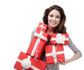 Woman hands a great amount of gift boxes — Stock Photo