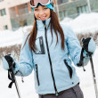 Stock Photo: Portrait of female skier