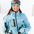 Portrait of female who goes skiing — Stock Photo