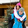 Couple having fun during winter holidays — Stock Photo