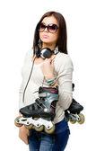 交旱冰鞋的青少年 — 图库照片