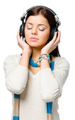 Teen listening to music — Stock Photo