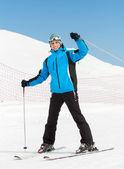 Retrato de esquiador downhill masculino — Foto Stock