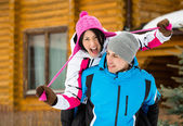 Couple having fun during winter vacations — Stock Photo