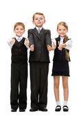 Portrait of thumbing up little children — Stock Photo