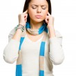 Teen closes her ears with hands — Stock Photo