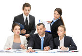 Group of business people debating — Stock Photo