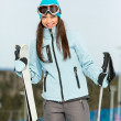 Stock Photo: Half-length portrait of wommountain skier