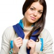 Stock Photo: Teenager wearing blue rucksack