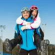Happy couple of skiers have fun — Stock Photo