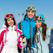 Half-length portrait of group of skier friends — Stock Photo #35646197