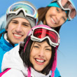 Close up of group of skier friends — Stock Photo