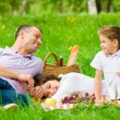 Family of three has picnic in green park — Stock Photo