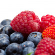 Close up of strawberry, bilberry and raspberry — Stock Photo