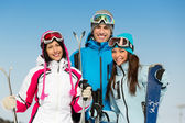Half-length portrait of group of skier friends — Stock Photo