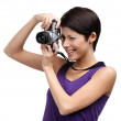 Woman hands retro photographic camera — Stock Photo #36531685