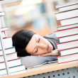 Pretty female student sleeping — Stock Photo
