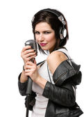 Rock musician with microphone and headphones — Stock Photo