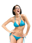 Woman wearing bikini and sunglasses — Stock Photo