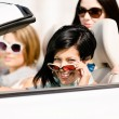 Group of girls in the convertible car — Stock Photo #39906863