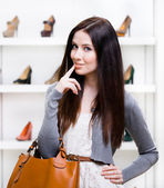 Portrait of woman in shopping center — Stock Photo