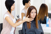 Hair stylist does hair style of woman — Stock Photo
