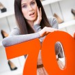 Woman showing the percentage of sales on shoes — Stock Photo