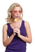 Young girl with lollypop — Foto de Stock