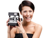 Lady takes pictures — Stock Photo