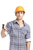 Foreman handing elevation meter — Stock Photo