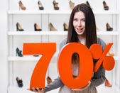 Woman keeps the model of 70 percent sale on pumps — Stock Photo