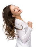 Happy girl fists gesturing — Foto de Stock