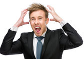 Screaming businessman — Stock Photo