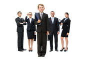 Group of business people headed by a little boy — Stock Photo