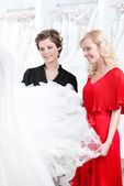 Two girls stare at the dress — Stock Photo