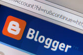 Close up view of blogger icon — 图库照片