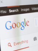 Close up view of google page screenshot — Stock Photo