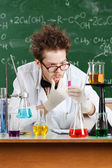 Professor and result of the experiment — Stock Photo